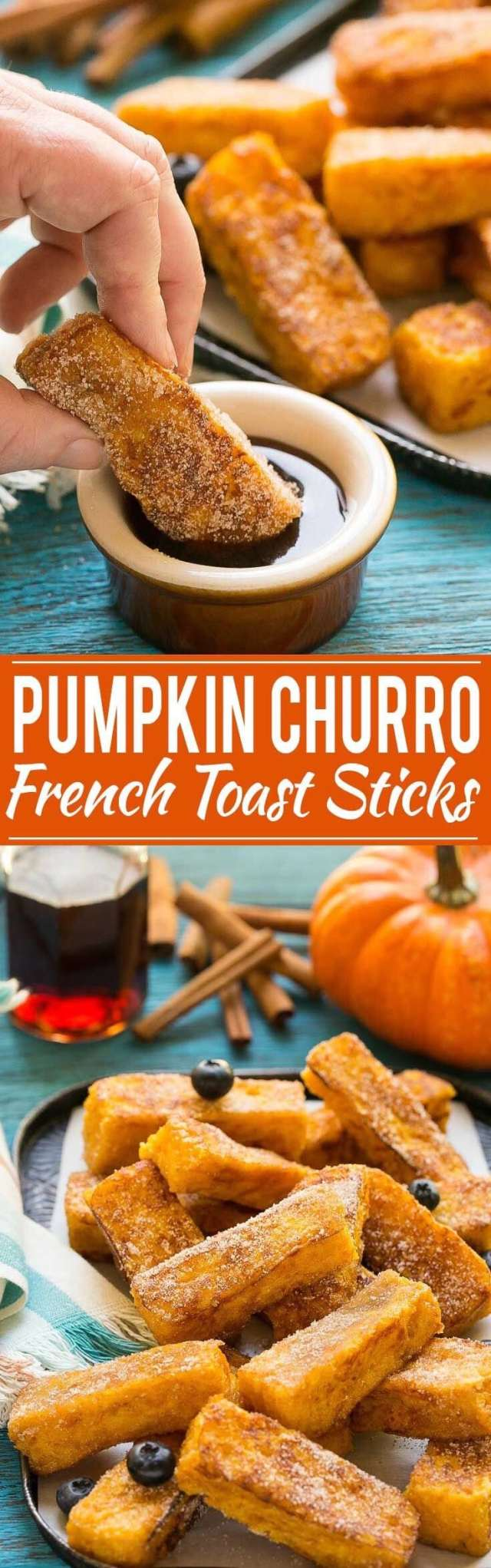 Pumpkin Spice Recipes: Pumpkin Churro French Toast Sticks