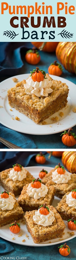 Pumpkin Spice Recipes: Pumpkin Pie Crumb Bars