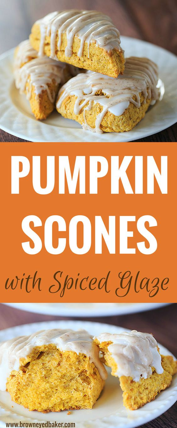 Pumpkin Spice Recipes: Pumpkin Scones with Spiced Glaze