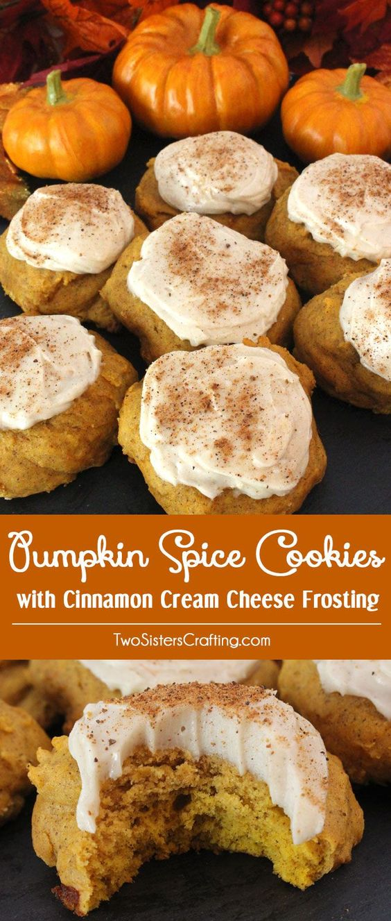 Pumpkin Spice Recipes: Pumpkin Spice Cookies With Cinnamon Cream Cheese Frosting