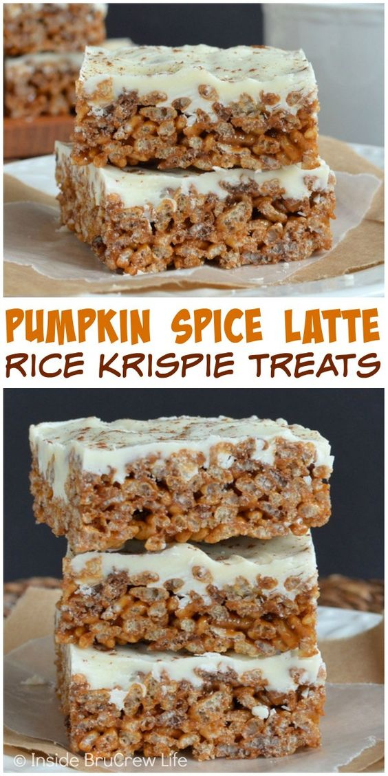 Pumpkin Spice Recipes: Pumpkin Spice Latte Krispie Treats