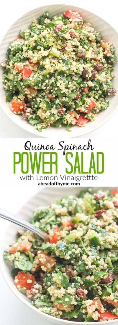 Healthy salad recipes: Quinoa Spinach Power Salad With Lemon Vinaigrette