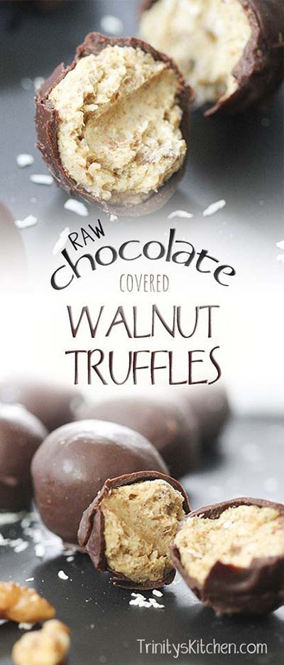 Truffle Dessert Recipes: Raw Chocolate Covered Walnut Truffles