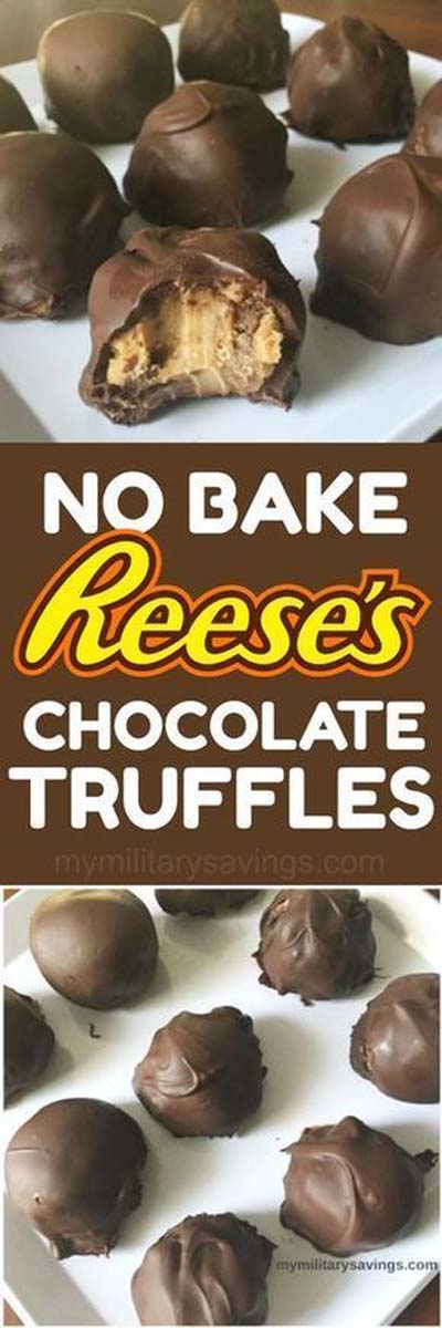 Truffle Dessert Recipes: Reese's No Bake Truffles For Foodie Friday-min