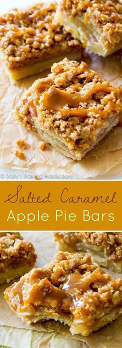 Easy caramel dessert recipes: Salted Caramel Apple Pie Bars