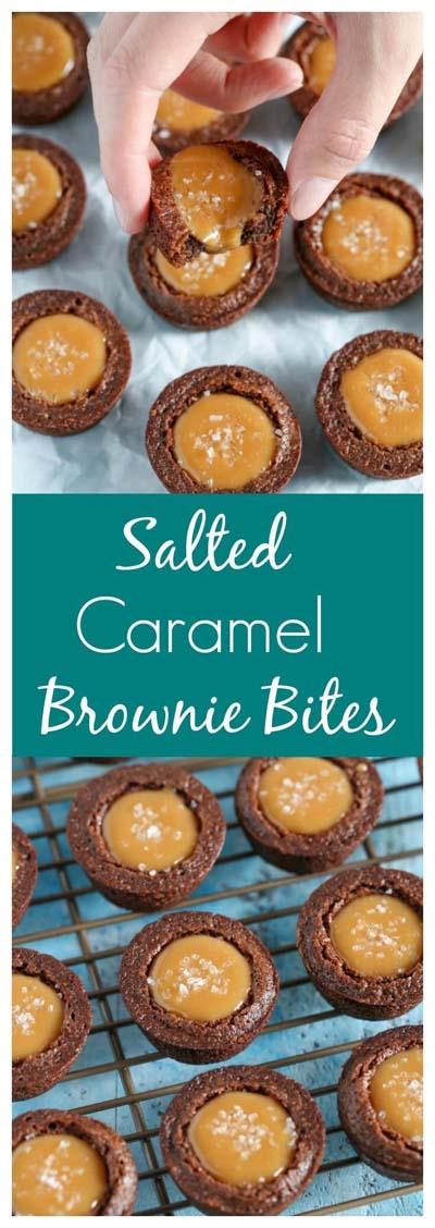 Easy caramel dessert recipes: Salted Caramel Brownie Bites