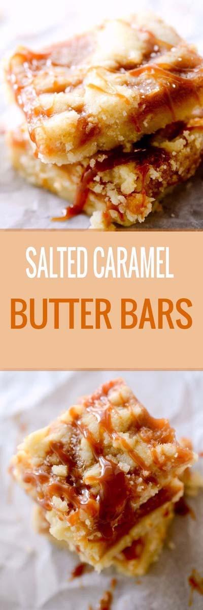 Easy caramel dessert recipes: Salted Caramel Butter Bars