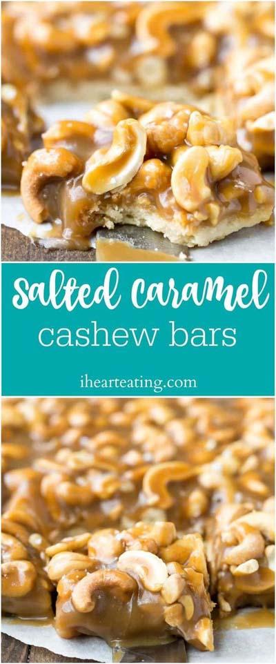 Easy caramel dessert recipes: Salted Caramel Cashew Bars