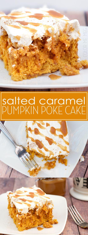 Thanksgiving Desserts: Salted Caramel Pumpkin Poke Cake