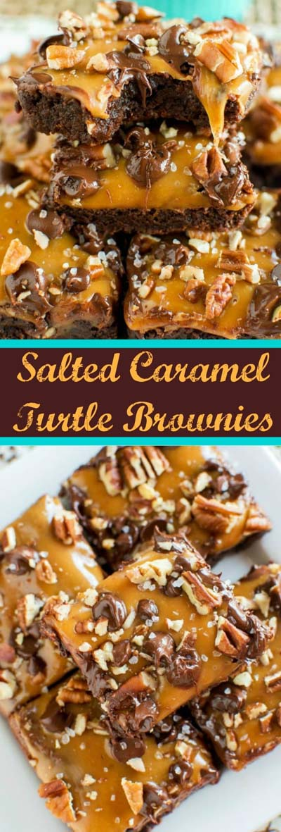 Easy caramel dessert recipes: Salted Caramel Turtle Brownies