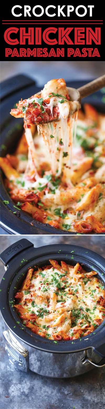 Slow Cooker Chicken Parmesan Pasta
