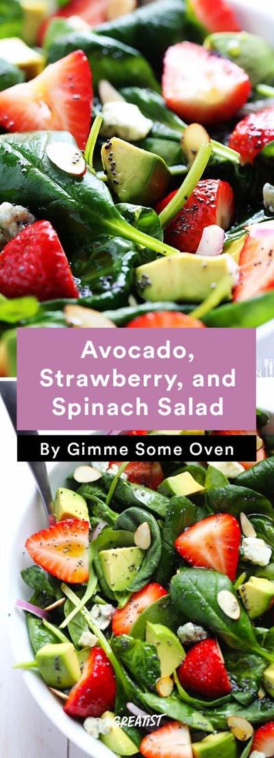 Healthy salad recipes: Strawberry Avocado Spinach Salad With Poppyseed Dressing