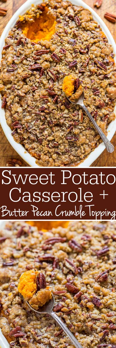 Christmas Dinner Recipes: Sweet Potato Casserole with Butter Pecan Crumble Topping