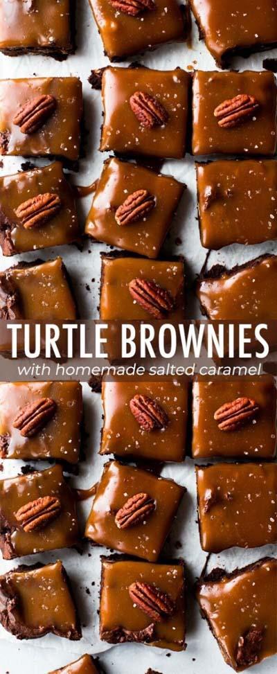 Easy caramel dessert recipes: Turtle Brownies