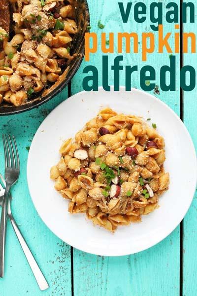 Vegan Pasta Recipes: Vegan Pumpkin Alfredo With Roasted Hazelnuts