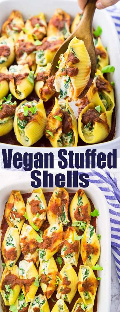 Vegan Pasta Recipes: Vegan Stuffed Shells With Spinach