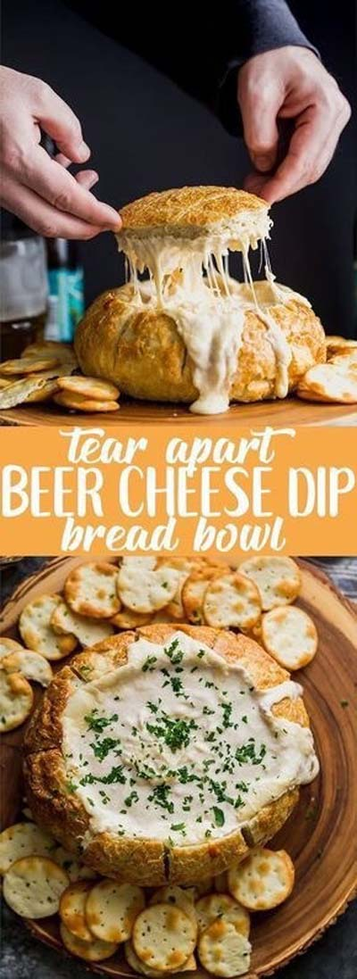 Party finger foods and party appetizers: Beer Cheese Dip Bread Bowl