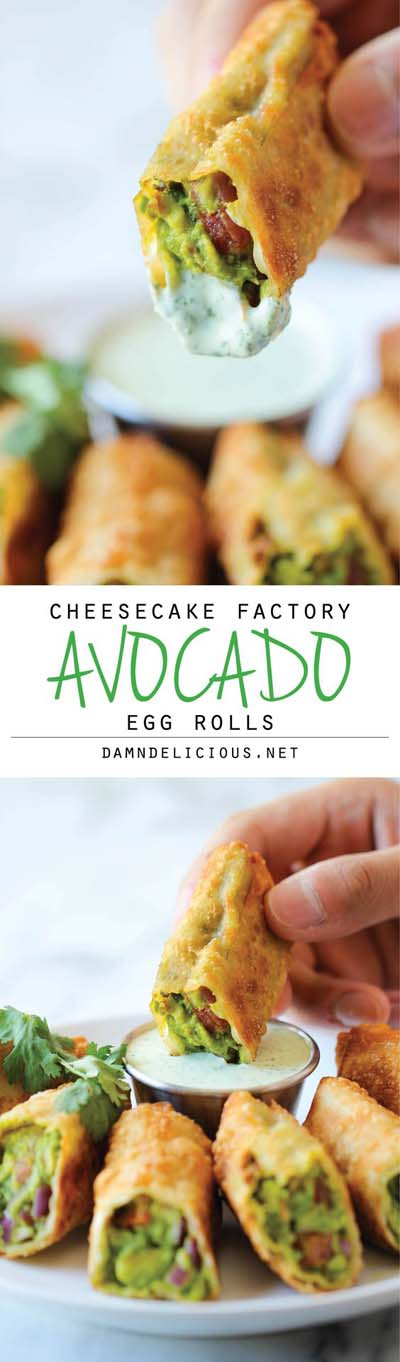 Party finger foods and party appetizers: Cheesecake Factory Avocado Egg Rolls