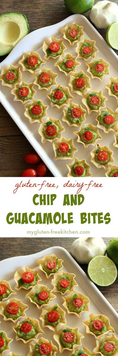 Party finger foods and party appetizers: Chip and Guacamole Bites