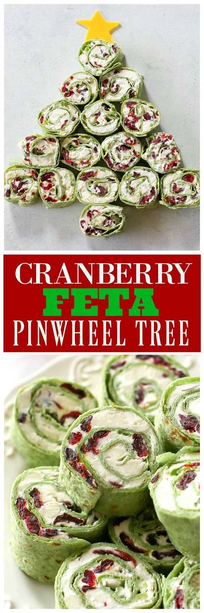 Party finger foods and party appetizers: Cranberry And Feta Pinwheels