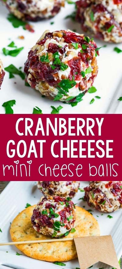 Party finger foods and party appetizers: Cranberry Goat Cheese Mini Cheese Balls