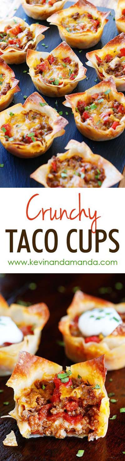 Party finger foods and party appetizers: Crunchy Taco Cups