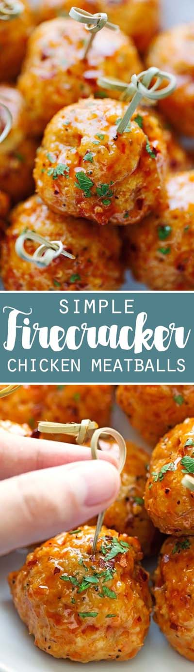 Party finger foods and party appetizers: Firecracker Chicken Meatballs