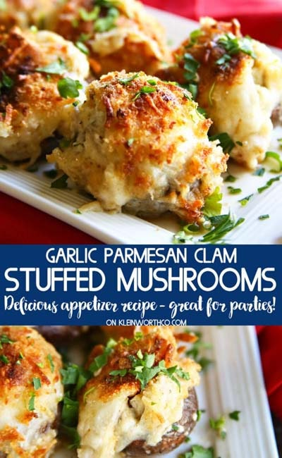 Party finger foods and party appetizers: Garlic Parmesan Clam Stuffed Mushrooms