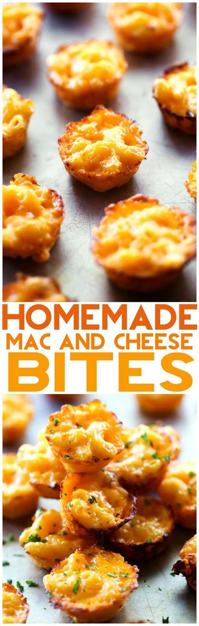 Party finger foods and party appetizers: Homemade Mac and Cheese Bites