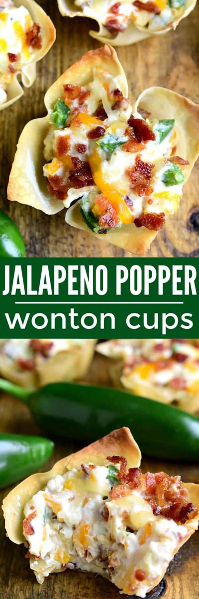 Party finger foods and party appetizers: Jalapeno Popper Wonton Cups