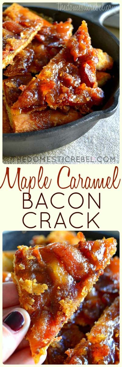 Party finger foods and party appetizers: Maple Caramel Bacon Crack