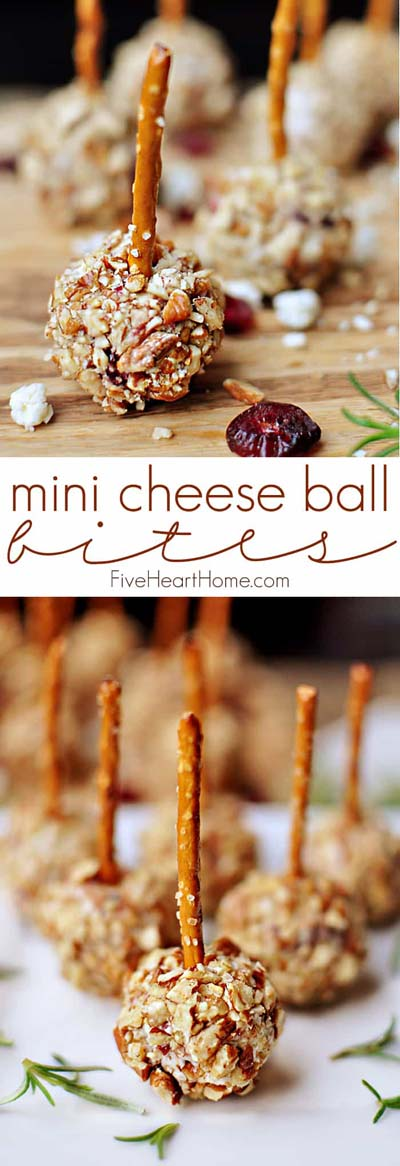 Party finger foods and party appetizers: Mini Cheese Ball Bites