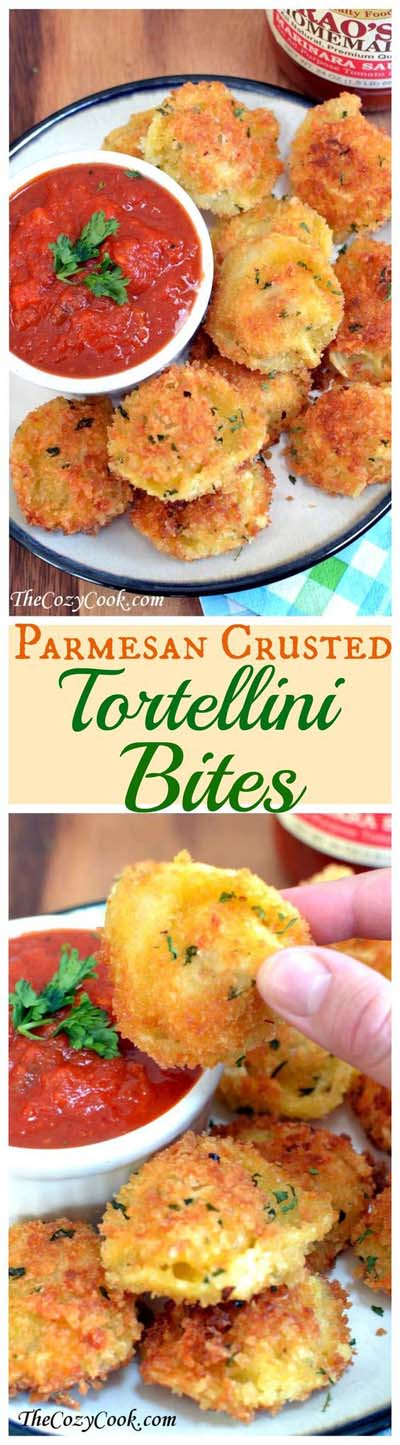 Party finger foods and party appetizers: Parmesan Crusted Tortellini Bites
