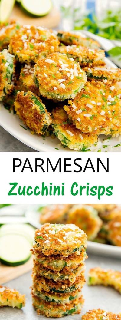 Party finger foods and party appetizers: Parmesan Zucchini Crisps