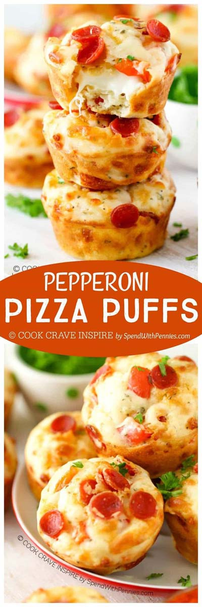 Party finger foods and party appetizers: Pepperoni Pizza Puffs