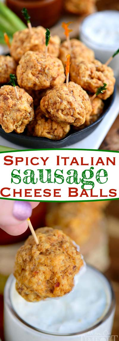 Party finger foods and party appetizers: Spicy Italian Sausage Cheese Balls