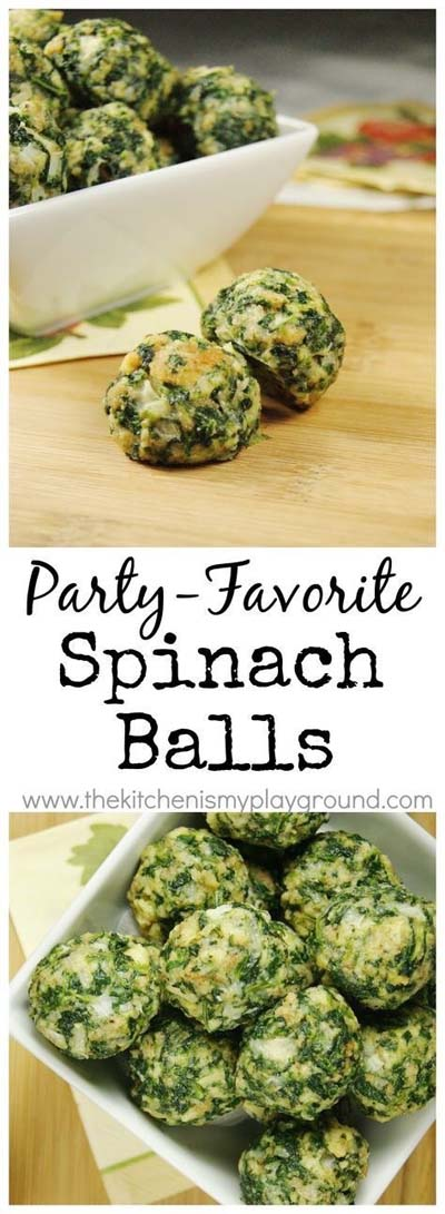 Party finger foods and party appetizers: Spinach Balls