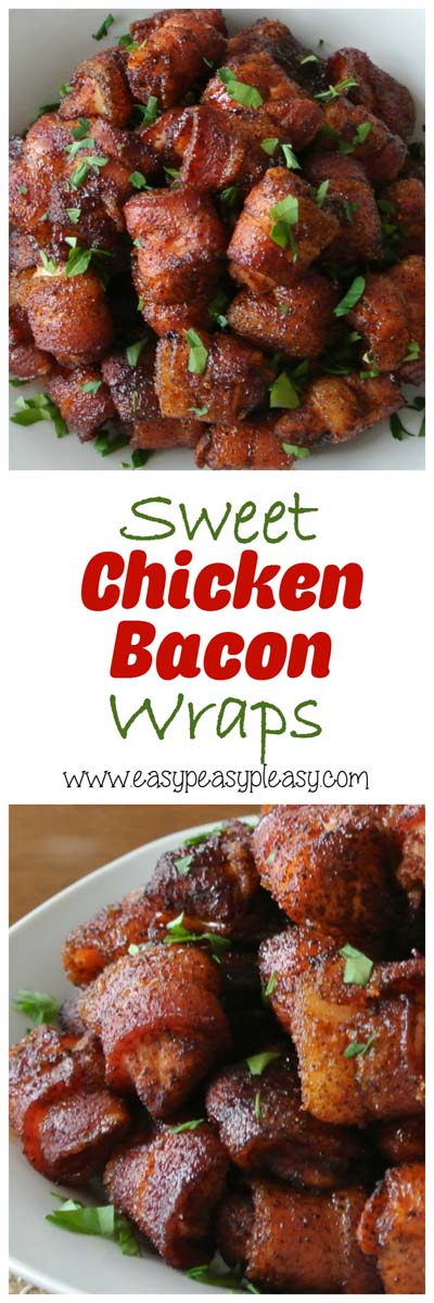 Party finger foods and party appetizers: Sweet Chicken Bacon Wraps