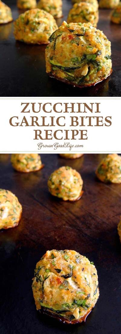 Party finger foods and party appetizers: Zucchini Garlic Bites