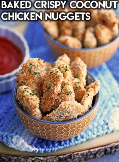 Healthy Super Bowl Snacks: Baked Crispy Coconut Chicken Nuggets