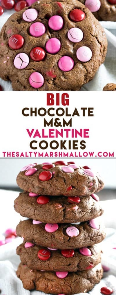 Easy Valentines Day Cookies: Big Chocolate M&M Valentine's Day Cookies