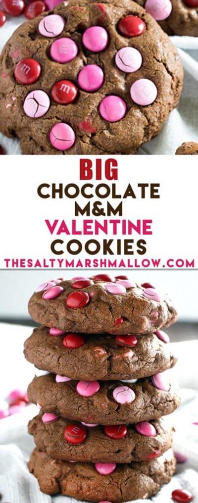 Easy Valentines Day Cookies: Big Chocolate M&M Valentine's Day Cookies