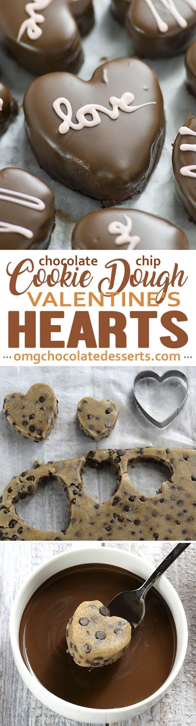 Easy Valentines Day Cookies: Chocolate Chip Cookie Dough Valentine's Hearts