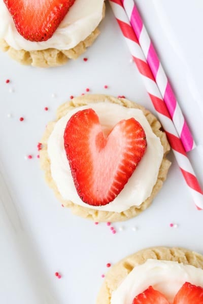 Easy Valentines Day Cookies: Coconut-Frosted Sugar Cookies with Strawberry Hearts