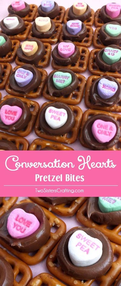 Valentines Day Treats: Conversation Hearts Pretzel Bites