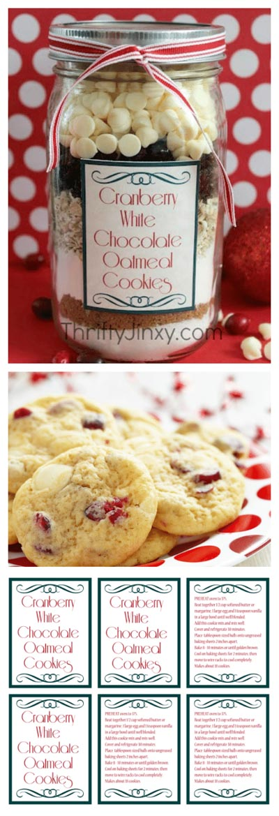 Valentines mason jar gifts: Cranberry White Chocolate Oatmeal Cookie in a Jar Recipe