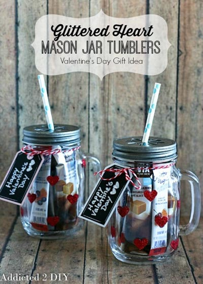 Valentines Day Mason Jar Gifts: Glittered Heart Mason Jar Tumblers