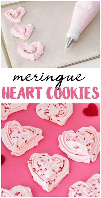 Valentines Day Treats: Heart Meringue Cookies