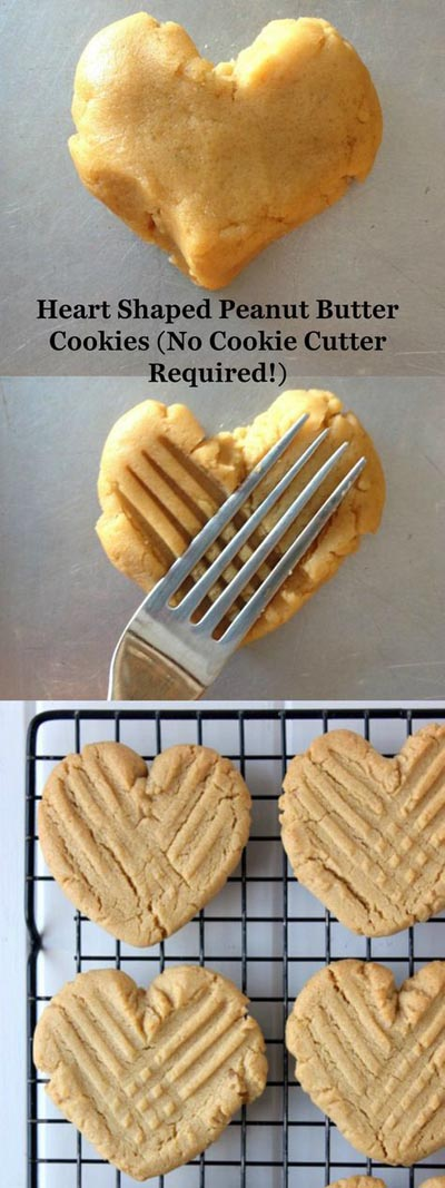 Easy Valentines Day Cookies: Heart Shaped Peanut Butter Cookies