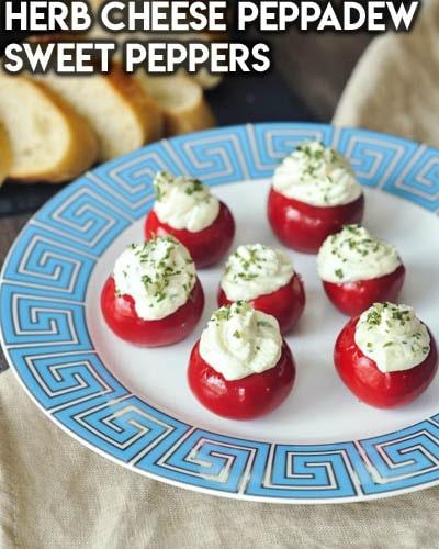 Healthy Super Bowl Snacks: Herb Cheese Peppadew Sweet Peppers